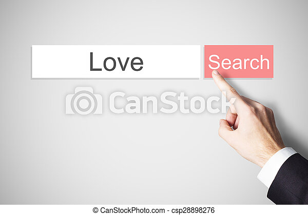 finger pushing web search button love - csp28898276