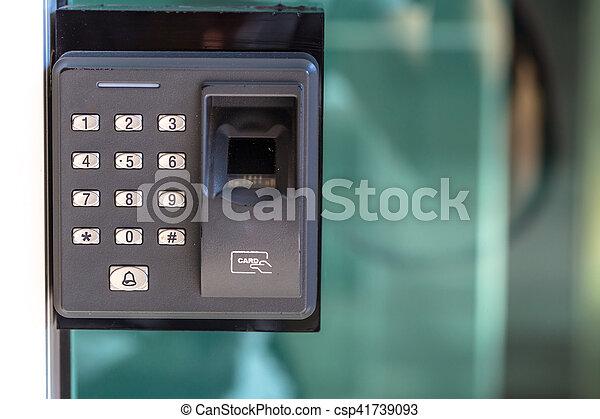 finger scan security door key lock. - csp41739093 & Finger scan security door key lock. stock photographs - Search Photo ...