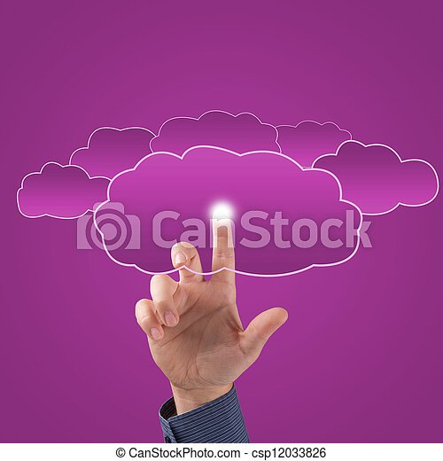 finger touches the clouds - csp12033826