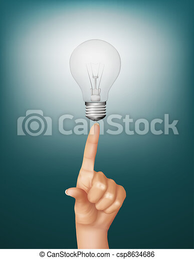 Finger touching brightly lit bulb. - csp8634686