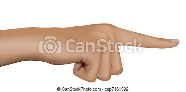 finger., wijzende, vector., hand - csp7161392
