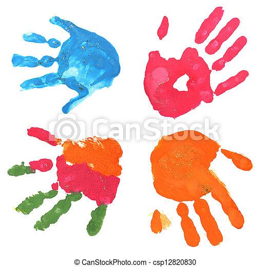 Fingerabdrucke Mehrfarbig Weisses Mehrere Kinder