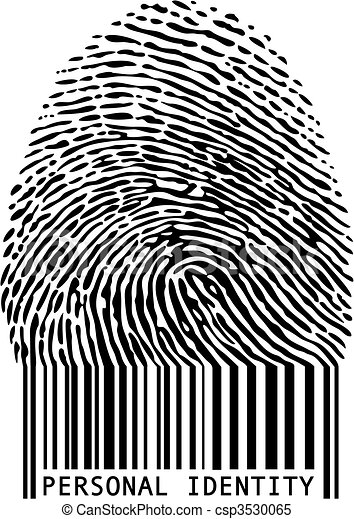 Fingerprint bar code. Personal identity, fingerprint with ...