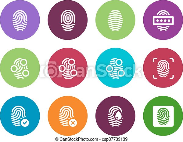 Fingerprint circle icons on white background. - csp37733139