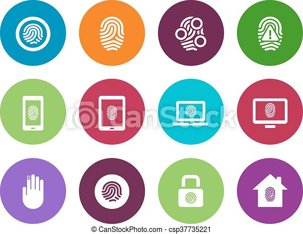 Fingerprint circle icons on white background. - csp37735221
