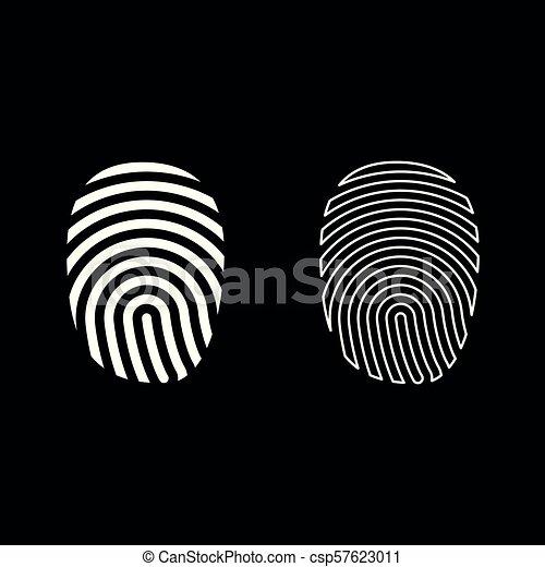 Fingerprint icon set white color illustration flat style simple image