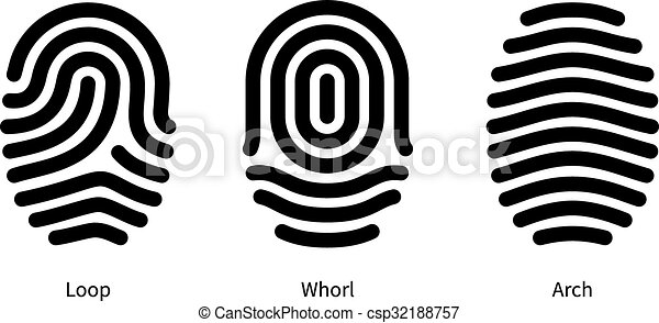 Fingerprint id types on white background. - csp32188757