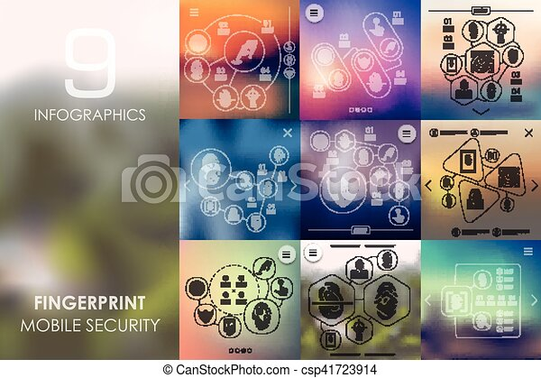 fingerprint infographic with unfocused background - csp41723914