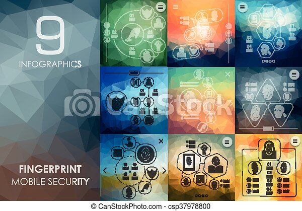 fingerprint infographic with unfocused background - csp37978800