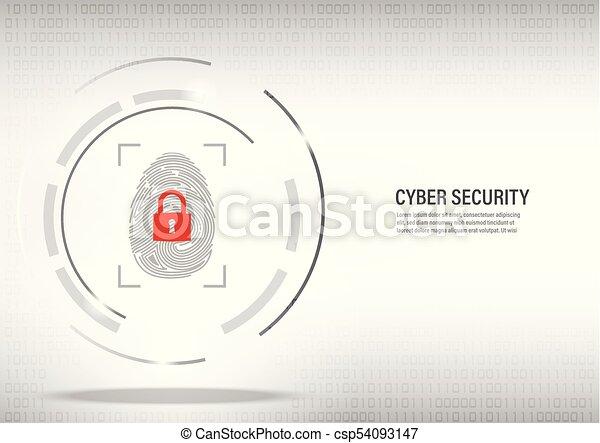 fingerprint on digital white background. - csp54093147
