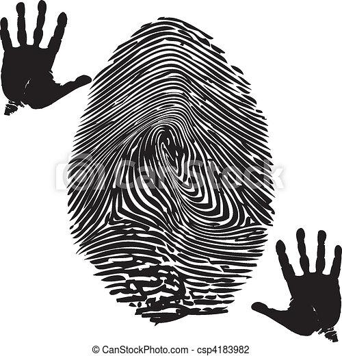 Fingerprint Palm Print Illustration Of Fingerprint And Palm Print On A White Background