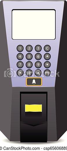 Fingerprint scanner isolated on white background - csp65606889
