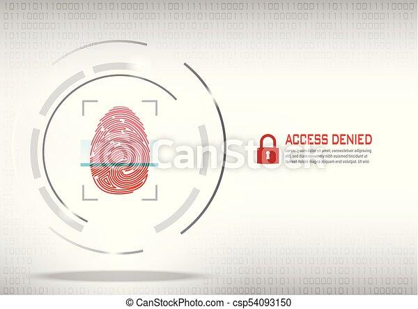 fingerprint scanning on digital white background. - csp54093150