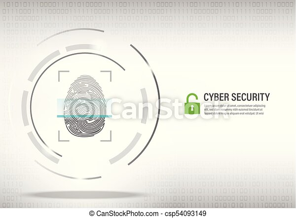 fingerprint scanning on digital white background. - csp54093149