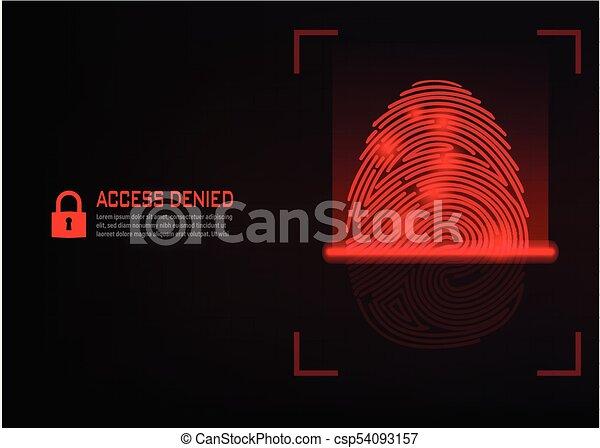 fingerprint scanning vector on digital background - csp54093157