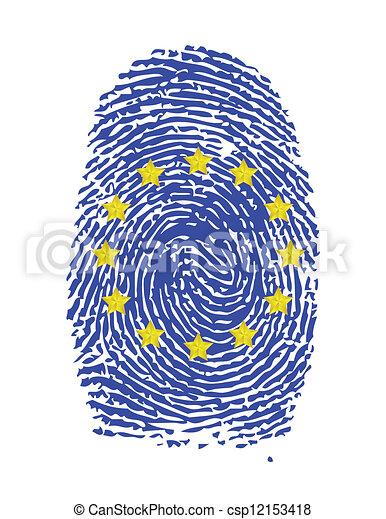 Fingerprint Stamp On White Paper For European Flag Illustration