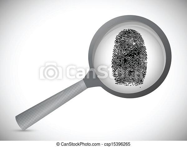fingerprint under a magnify glass. - csp15396265