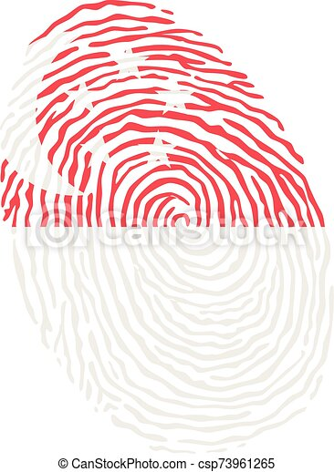 Fingerprint vector colored with the national flag of Singapore - csp73961265