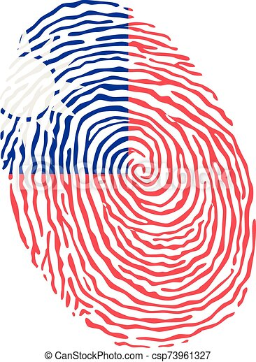 Fingerprint vector colored with the national flag of Taiwan - csp73961327