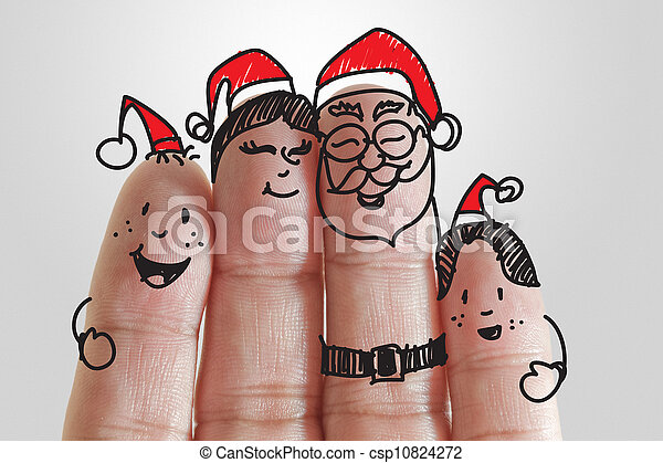 Fingers family and christmas background.