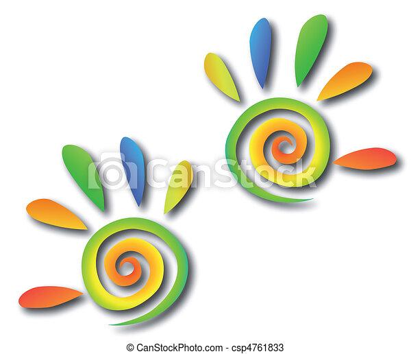 fingers., hände, vektor, gefärbt, spirale - csp4761833