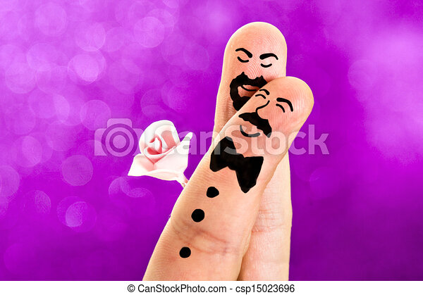 Fingers Painted Gay Wedding  - csp15023696
