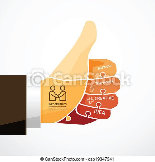 fingers shape good ok  jigsaw banner - csp19347341