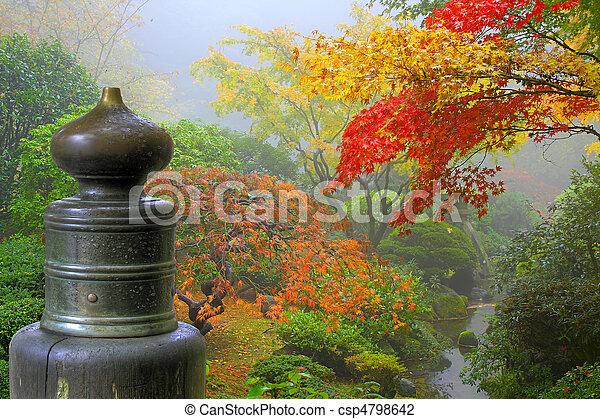 Finial on Wooden Bridge in Japanese Garden - csp4798642