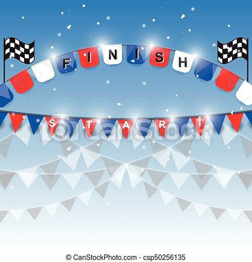 Finish and start flags on blue background - csp50256135