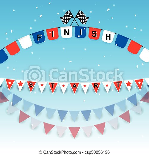 Finish and start flags with confetti - csp50256136