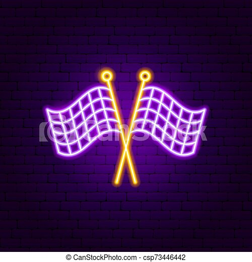 Finish Flags Neon Sign - csp73446442
