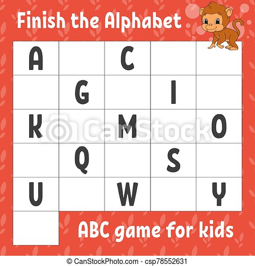 Finish The Alphabet. Abc Game For Kids. Education Developing Worksheet.  Brown Monkey. Learning Game For Kids. Color Activity CanStock