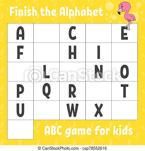 Finish The Alphabet. Abc Game For Kids. Education Developing Worksheet.  Pink Flamingo. Learning Game For Kids. Color Activity CanStock