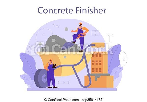 finisher, trabalhador, preparar, concreto, profissional, builder. - csp85814167