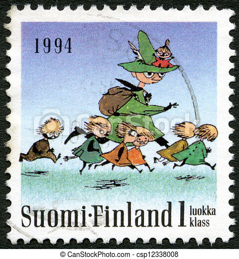 FINLAND - 1994: shows Moomin characters, Seven running - csp12338008