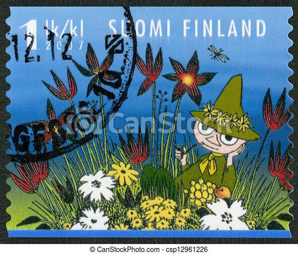 FINLAND - 2007: shows Snufkin, Moomin characters - csp12961226