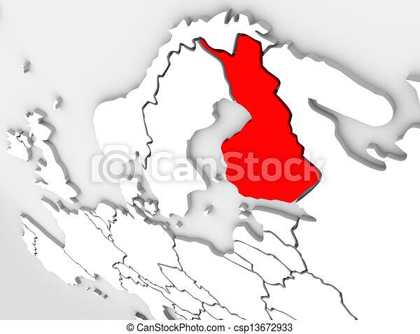 finland abstract 3d map country europe scandinavian region csp13672933
