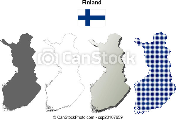 Finland blank outline map set
