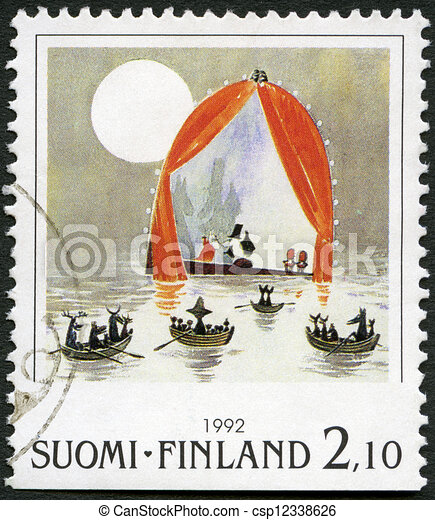 FINLAND - CIRCA 1992: A stamp printed in Finland shows Moomin Cartoon Characters, by Tove Jansson: Boats in water, circa 1992 - csp12338626