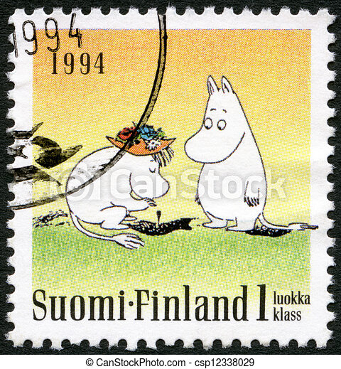 FINLAND - CIRCA 1994: A stamp printed in Finland shows Moomin characters, Friendship, Two standing, circa 1994 - csp12338029