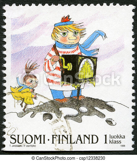FINLAND - CIRCA 1998: A stamp printed in Finland shows Moomin Cartoon Characters, by Tove Jansson: Organ grinder, circa 1998 - csp12338230