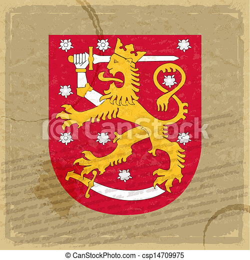 Finland coat of arms on an old sheet of paper - csp14709975