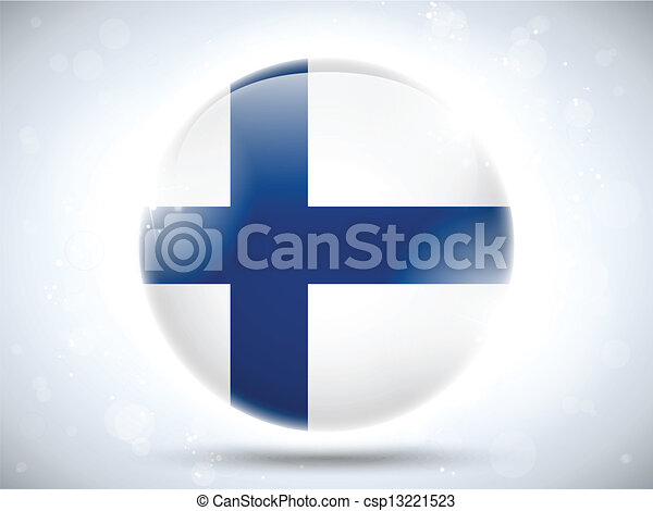 Finland Flag Glossy Button - csp13221523