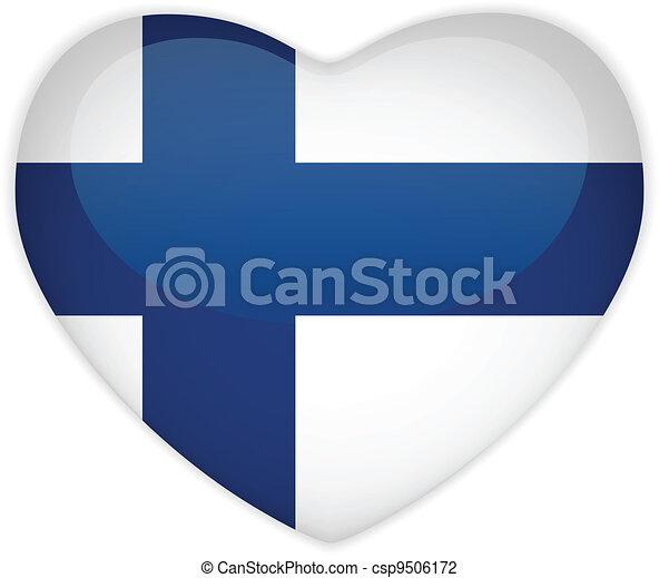 Finland Flag Heart Glossy Button - csp9506172