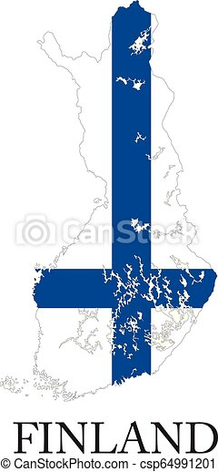 Finland flag map - csp64991201