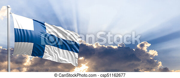 Finland flag on blue sky. 3d illustration - csp51162677