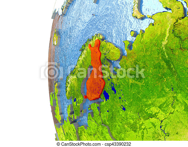 Finland in red - csp43390232