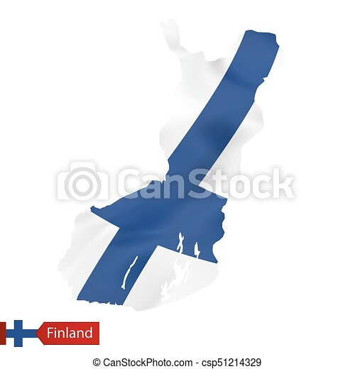 Finland map with waving flag of Finland. - csp51214329