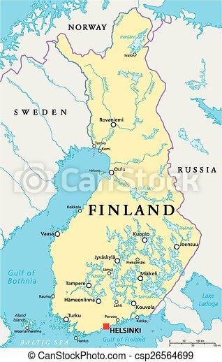 finland karta Finland political map with capital helsinki, national borders  finland karta