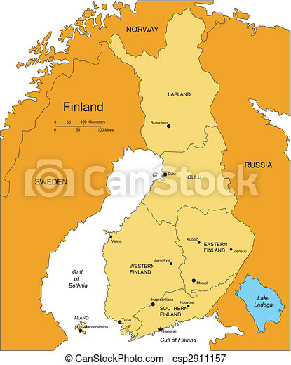 Finland with Administrative Districts and Surrounding Countries - csp2911157